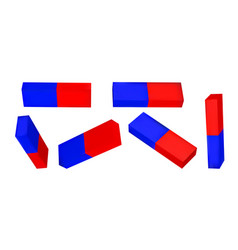 Set red blue magnets vector
