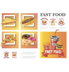 sketch fast food composition vector image