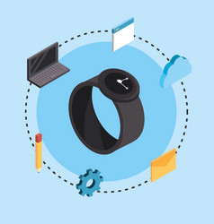 Smartwatch technology with data services connect vector