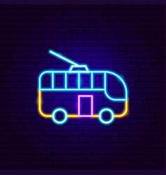 trolleybus neon sign vector image