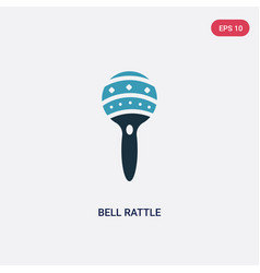 Two color bell rattle icon from kid and baby vector