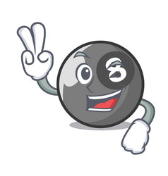 Two finger billiard ball character cartoon vector