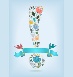 valentine card floral exclamation mark and birds vector image