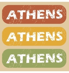 Vintage Athens stamp set vector