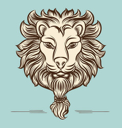 Vintage hand drawn lion print design vector