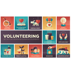 Volunteering - set of flat design infographics vector