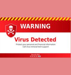 Warning malware attack virus detected skull vector