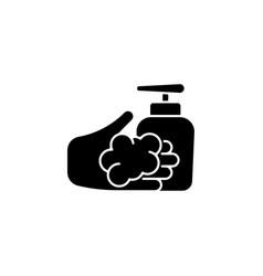 Washing with liquid soap black glyph icon vector