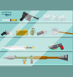 weapon storefront banner choosing gun and shooting vector image