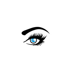 Woman eye vision with eyelashes and eyebrow for vector