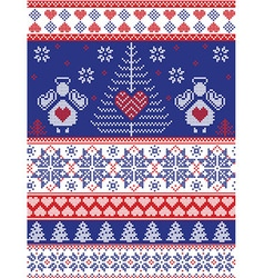 Xmas Nordic tall pattern with angels in white blue vector