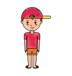 young boy with summer fashion vector image