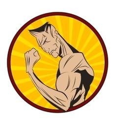 Bodybuilder shows his biceps vector image vector image