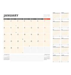 calendar planner for 2018 year design template vector image