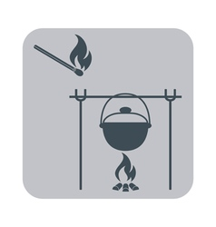 Fire pot and matches icon vector