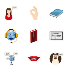 Foreign language icons set cartoon style vector