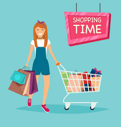 girl with shopping bags and cart for shopping vector image
