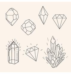 Hand drawn set sketch crystaldiamond and polygonal vector