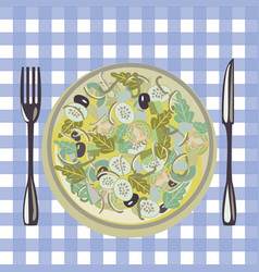 healthy fresh green food in a plate and vector image vector image