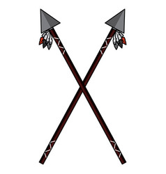 crossed two spear native american indian weapon vector image
