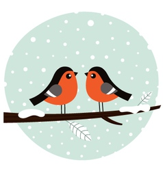 Cute bullfinch couple sitting on the branch vector image vector image