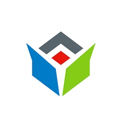 drop box abstract color logo vector image vector image