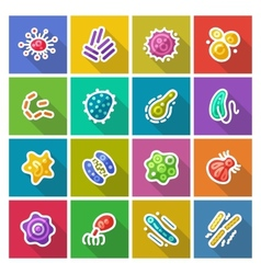 Germs and Bacteria Flat Icons Set vector image