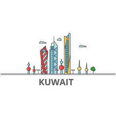 Kuwait city skyline buildings streets vector