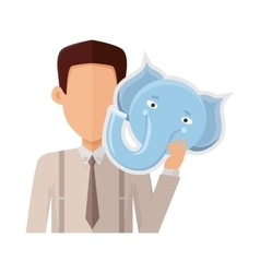 Man with Elephant Mask Flat Design vector image vector image