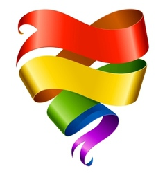 Rainbow ribbon in the shape of heart vector