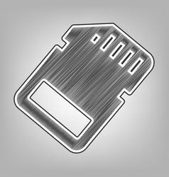 memory card sign pencil sketch imitation vector image