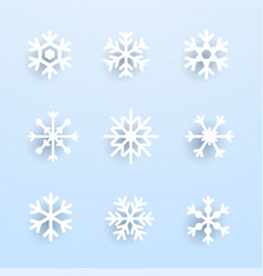 snowflake winter set of white isolated on blue vector image vector image