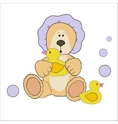 Teddy bear bath time vector image
