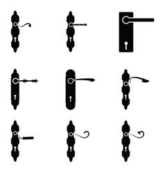 door handle icon set vector image