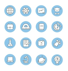 Education and learning flat thin line icons set vector image vector image