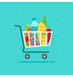 Grocery cart shopping trolley vector image