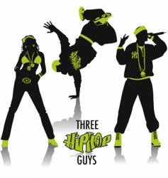 hip-hop silhouettes vector image vector image