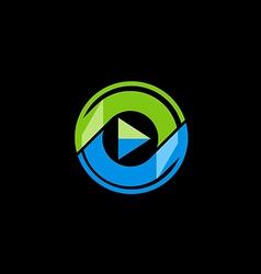 play button media technology logo vector image vector image