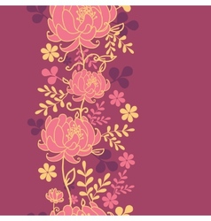 Red flowers and leaves vertical seamless pattern vector image vector image