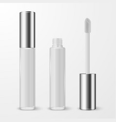 3d realistic closed opened white lip gloss vector