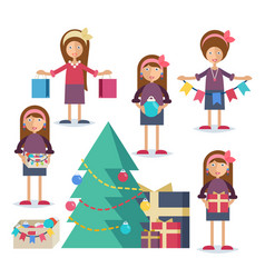 a young woman preparing for christmas vector image