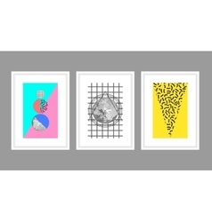 Abstract wall art poster set in memphis style vector