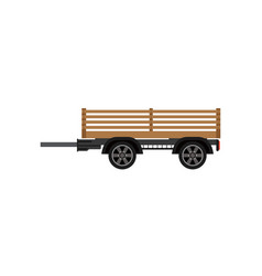 Agricultural wooden trailer isolated icon vector