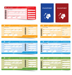 air ticket and passport set in color vector image