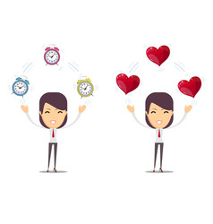 alarm clock and a red heart at the woman in hands vector image
