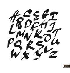 Alphabet letters calligraphic script vector
