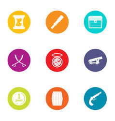 Ancient piracy icons set flat style vector