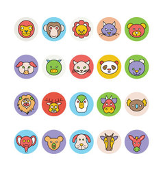 Animals Face Avatar Icons 1 vector