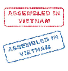 assembled in vietnam textile stamps vector image