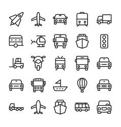 automobile line icons 4 vector image